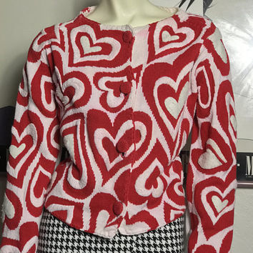 RARE Vtg MICHAEL SIMON New York Valentine's Day Cardigan / Red & White Hearts Pattern Knit Sweater / 90s Bold Op Art Button Up Knit Jacket