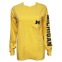 Michigan Long Sleeve Pocket Tee - Butter