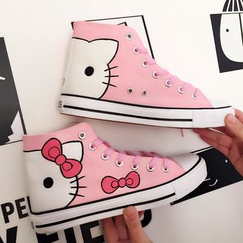 Fashion Shoes Kitty Cat Pattern Pink White Lacing Canvas Sneakers Casual Tennis Shoes