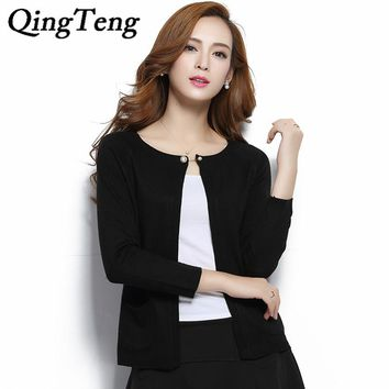 QingTeng 2017 Spring New Pearl Cashmere Cardigan Women Slim Wool Knitted Candy Colour Open Cardigan Sweaters Ladies Poncho