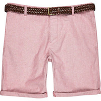 River Island MensRed Oxford belted shorts
