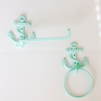 Nautical Bathroom Decor ~Aqua Bathroom ~ Anchor Decor ~ Cast Iron ~ Towel Hanger ~ Nautical Toilet Paper Holder ~ Cast Iron TP Holder
