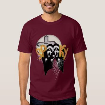 Spooky Screaming Ghost Faces Halloween Graphic T-Shirt