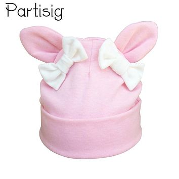 42e20516026 Partisig Baby Girl Hat Rabbit Ear Hat For Girls Cotton Bow Knot