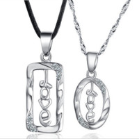 "Couple's ""love"" sign sterling silver necklace sets"