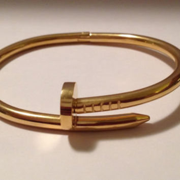 Designer Inspired Nail Bracelet/ 100% Stainless Steel/ 18k Gold Plated