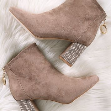 Suede Rhinestone Accent Chunky Heeled Booties