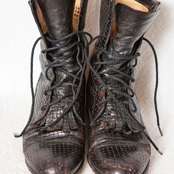 Vintage Justin Lacer Boots, Justin Black Woven Leather Women's Boots, Women's Distressed Black Leather Size 8 B Roper Boot, 8 Lace-Up Boots
