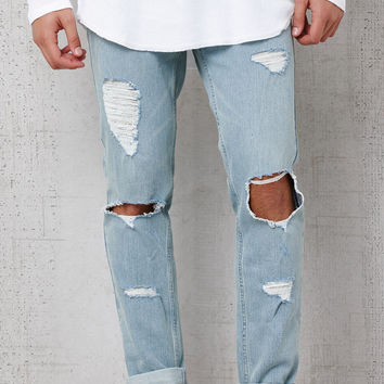 PacSun Skinny Destroyed Light Wash Stretch Jeans at PacSun.com