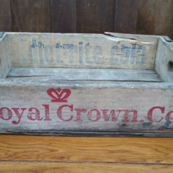 Vintage RC Cola Royal Crown Cola Soda Crate Diet-Rite Cola Durabilt With Metal Strapping Natural Wood with Red Lettering