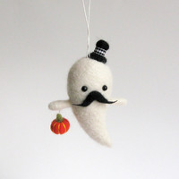 Made to Order Halloween ornament : felted mustache ghost - black hat and orange pumpkin