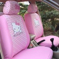 Cute Pink Hello Kitty Car Front Seat Covers Cartoon Universal Seat Decoration Protector for Women Girls Car-Styling Accessories