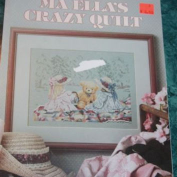 Leisure Art Ma Ellas Crazy Quilt Little Girls Picnic #709 Cross Stitch Patterns