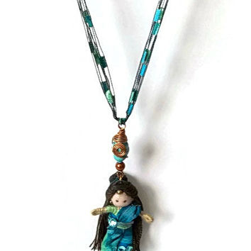 Jasmine, Ethnic, East Indian, BENDY DOLL and NECKLACE, Unique, Waldorf inspired, Sari, handcrafted, miniature doll, whimsical, toy, jewelry,