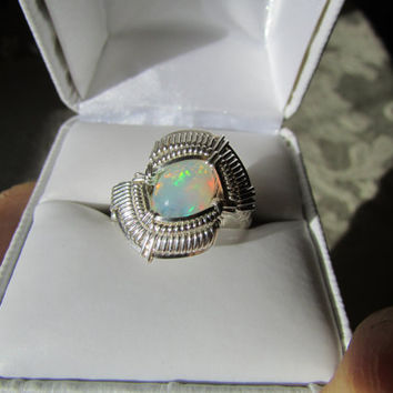Ethiopian Opal Wire Wrapped Ring