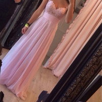 Homecoming Dress,Spaghetti Straps Pink Lace Long Prom Dress