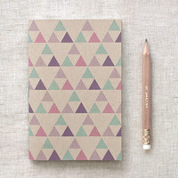 Recycled Mini Notebook with Pencil, Brown Sketchbook - Geometric Patterns, Radiant Orchid