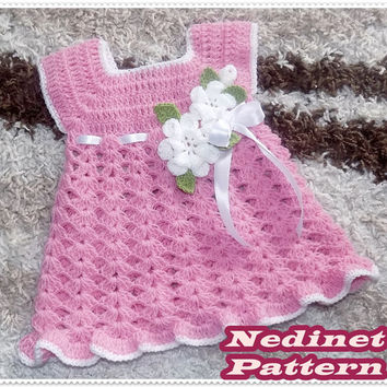 Crochet baby dress pattern, crochet baby girl dress pattern, crochet flower,  0-4 years sizes dress pattern, How to make baby dress