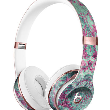 Grungy Teal and Pink Damask Pattern Full-Body Skin Kit for the Beats by Dre Solo 3 Wireless Headphones
