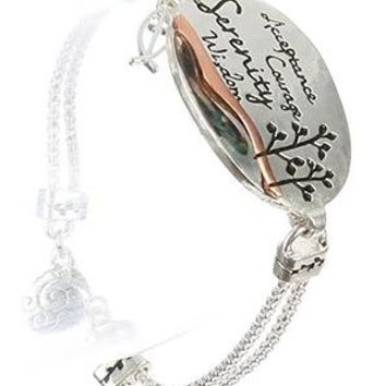 Double Box-Chain Silver Plated Message Serenity Bracelet