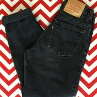 Vintage High Waisted 550 LEVI Black Tapered  Mom/ Boyfriend Jeans - Waist - 26.5""