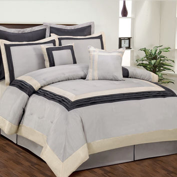 12pc TRNQ. Silver/Pewter Luxury Size: King Sheet Set Color: Ivory