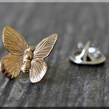 Brass Butterfly Tie Tac, Lapel Pin, Butterfly Brooch, Gift for Him, Gift Under 10 Dollars, Insect Pin, Butterfly Accessory, Unisex Pin