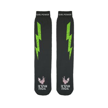 You Rule Girl Power Socks (BLACK) - Green Lightning and a Flat Man Underfoot Sublimation Tube Sock