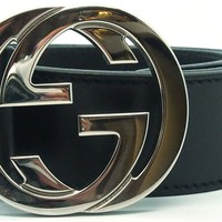 Authentic GUCCI Black Calfskin Leather Guccissima Belt w/ Interlocking G Size 85