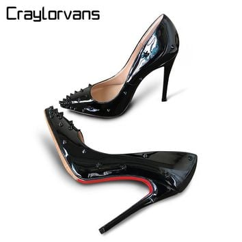 Craylorvans Top Quality Women Pumps Patent Leather Women High Heel 2017 Rivet Shoes Pointed Toe Women Shoes
