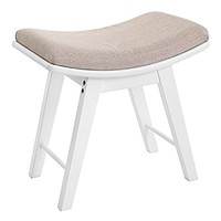 SONGMICS Vanity Stool Modern Concave Seat Surface Makeup Dressing Stool Padded Bench with Rubberwood Legs White URDS51W