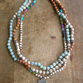 Long wrap necklace - Twisted Sister - Boho jewelry, knotted bohemian necklace, multi color amazonite, rose topaz baby blue silver, layering