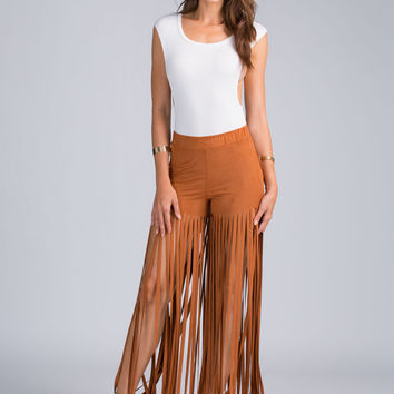 Fierce In Fringe Faux Suede Pants