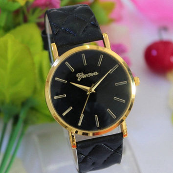 Womens Lady Fashion Watch Casual Geneva Roman Leather Band Analog Quartz Wrist Watch = 1931906372