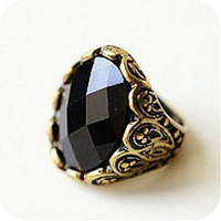 Retro Big Black Oval Gem Stone Rings, Vampire Diaries Design vintage Luxury, Swarovski cachobon crystal, Big Rings Size 10