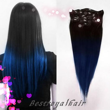 Black and Blue Two Colors Ombre hair extensions, Indian remy clip in Ombre hair extension RHS238