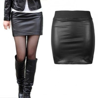Sexy Women Faux Leather Mini Short Bodycon Skirt Black = 1932663748