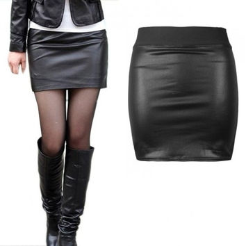 Sexy Women Faux Leather Mini Short Bodycon Skirt Black = 5739016641