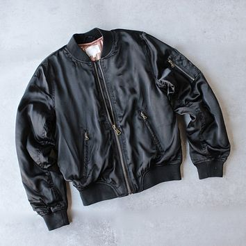 padded satin bomber jacket - black