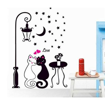 Creative Cat Lovers Wall Art Decal Sticker Removable Mural Wall Stickers