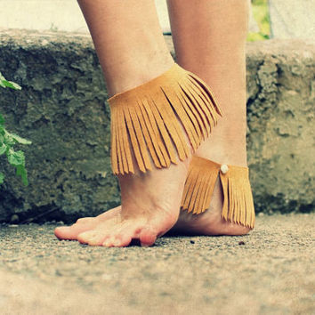 Fringe Anklets or Armbands, natural leather suede