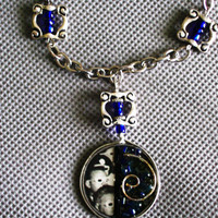 "SALE - Steampunk pendant Handmade on 24"" Silvertone chain, blue luster beads, OOAK"