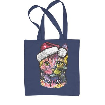 Neon Christmas Cat Shopping Tote Bag