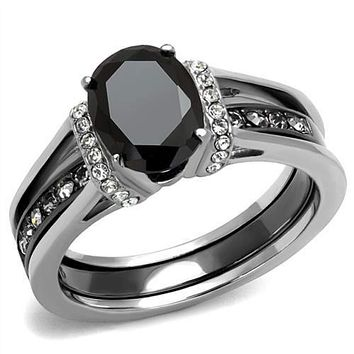WildKlass Stainless Steel Ring Two-Tone IP Black Women Synthetic Jet