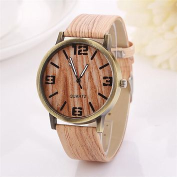 Vintage Women Man Watch Wood Grain Dial PU leather Band Analog Clock Fashion & Casual Gift For Men Quartz Wristwatch hodinky