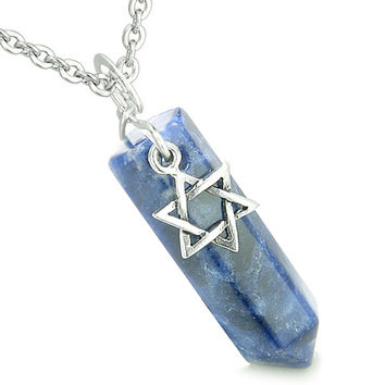 King of Solomon Star of David Crystal Point Magic Charm Sodalite Pendant 18 Inch Necklace