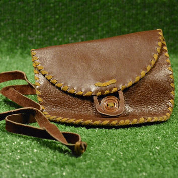 Vintage Hand Purse or Wallet  Brown Leather, Wallet with One Compartment  Natural Leather, Retro Purse, Leather Coin Purse