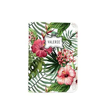 Tropical Floral Pattern Summer Travel [Name Customized] Leather Passport Cover - Vintage Passport Wallet - Travel Accessory Gift - Travel Wallet for Women and Men _Mishkaa