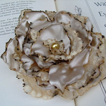 Cream Lace Flower Hair Clip Shabby Chic Bridal by OurPlaceToNest