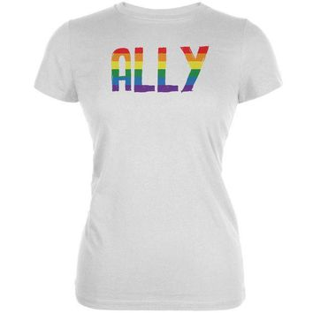 PEAPGQ9 LGBT - Ally Pride White Juniors Soft T-Shirt
